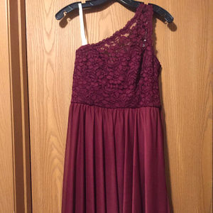 Wine colored one-shouldered bridesmaid dress DB